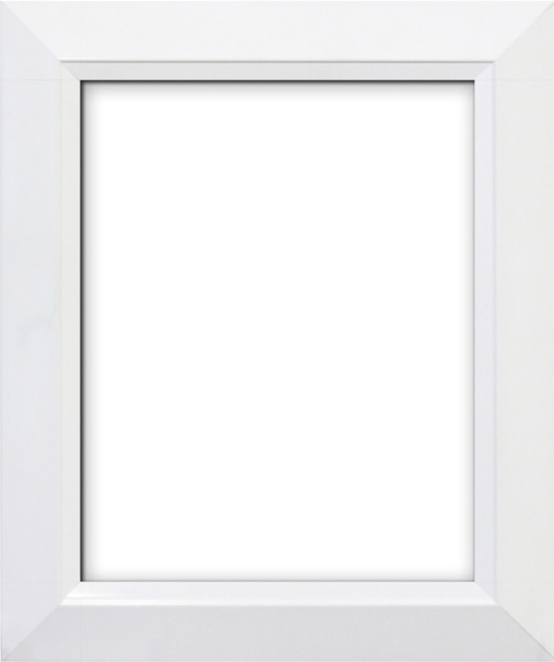 a 25 contemporary frame with a high gloss white finish