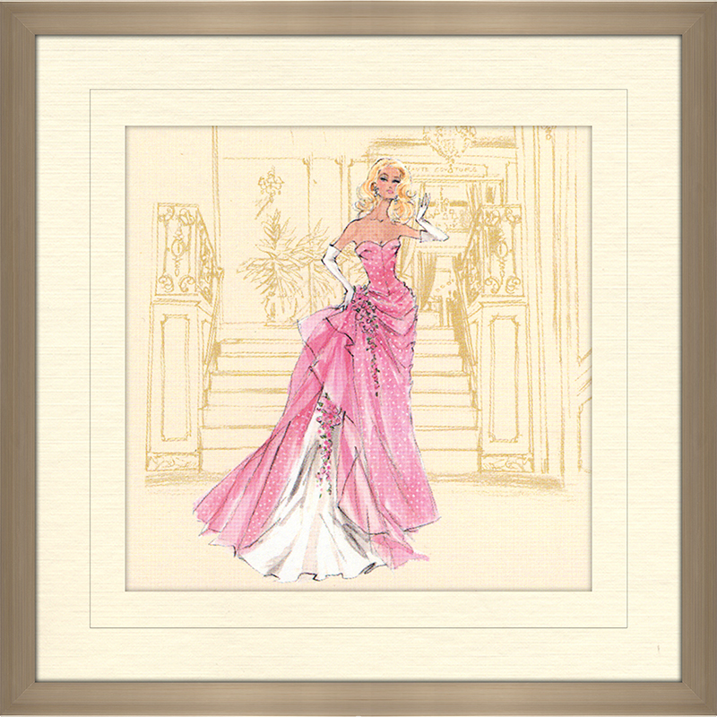 Pink Gown With White Polka Dots Barbie Framed Canvas Art