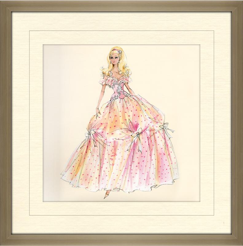 Birthday Wishes Barbie Doll Framed Canvas Art