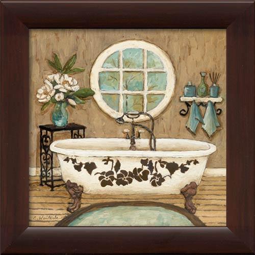 Country Bath II Framed Canvas Art