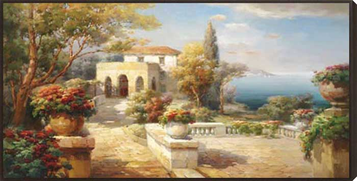 Tuscan Pathway Framed Canvas Art
