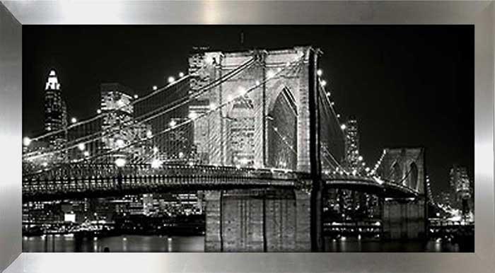Brooklyn Bridge At Night Framed Canvas Art