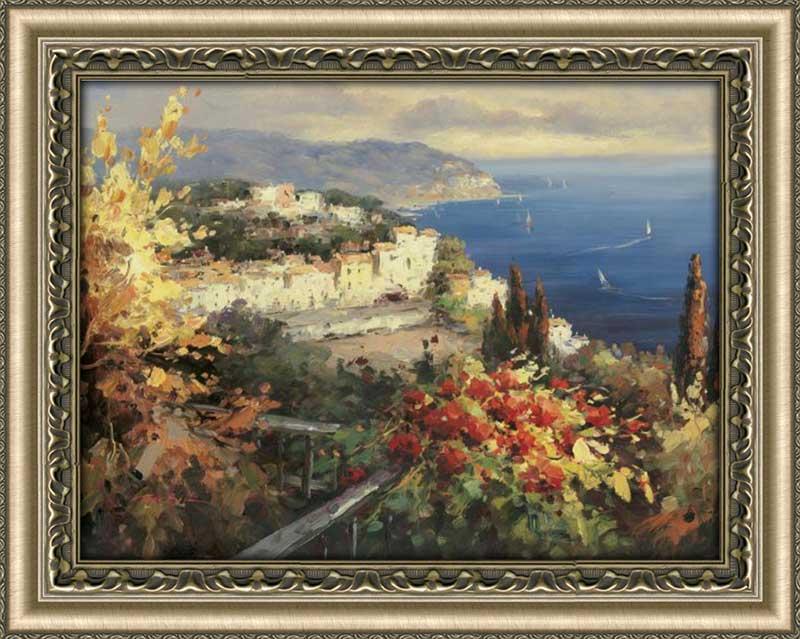 Mediterranean Seascape Framed Canvas Art