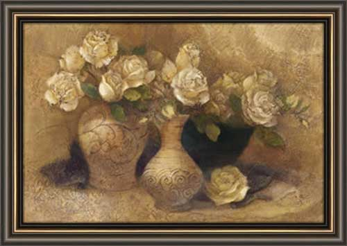 Roses In Jugs Framed Canvas Art