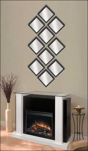10 decorative mirrors in black frame framed canvas art - Large Decorative Mirrors