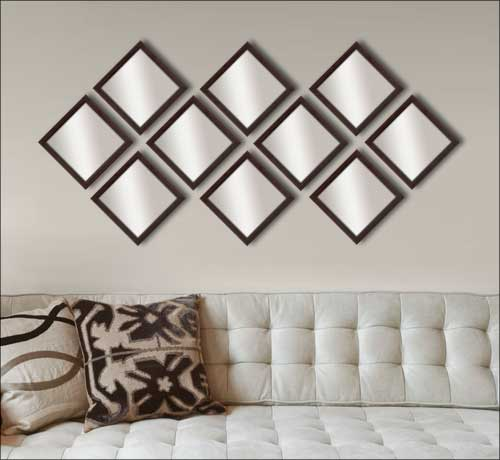 10 Decorative Mirrors In Brown Frame Framed Canvas Art