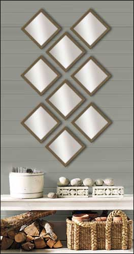 9 decorative mirrors in brushed bronze frame - Small Decorative Mirrors