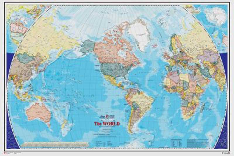 World map mural small english version framed canvas art for Black and white world map mural