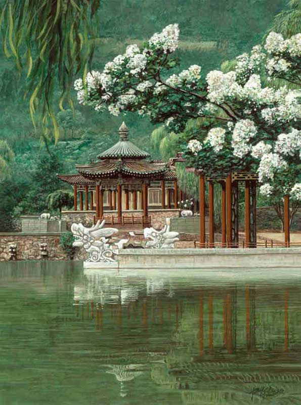 Oriental garden mural framed canvas art for Asian wallpaper mural