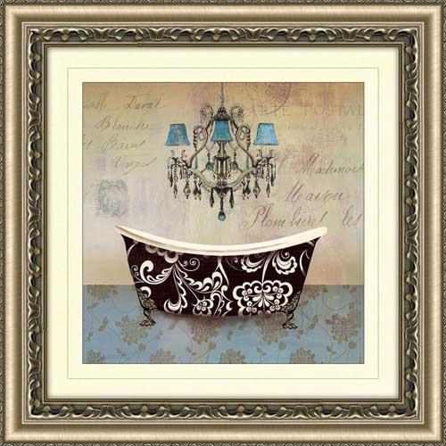 French Vintage Bath Ii Framed Canvas Art