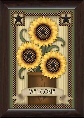 Welcome Sunflowers Framed Canvas Art