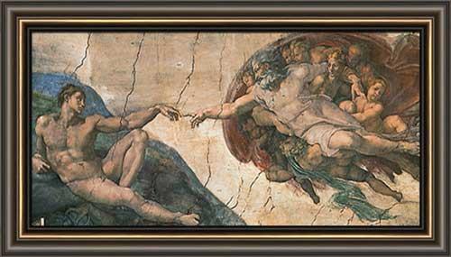 creation of adam framed canvas art