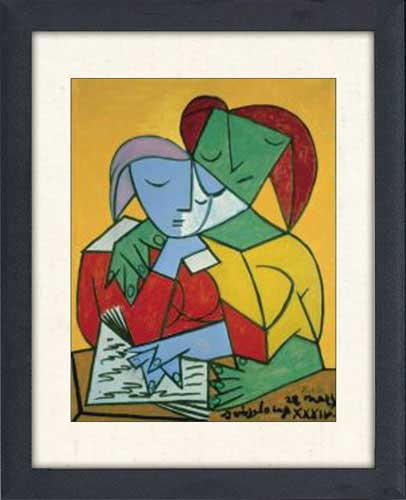 Two Girls Reading Framed Canvas Art