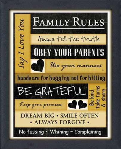 Family Rules Framed Canvas Art