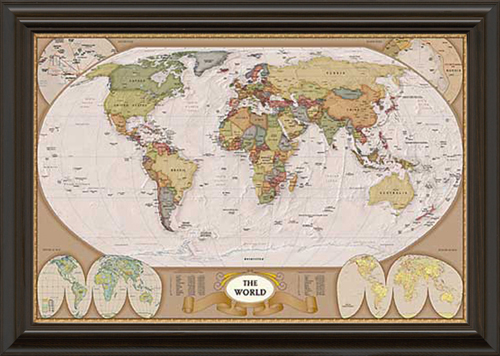 Map of the World Framed Canvas Art