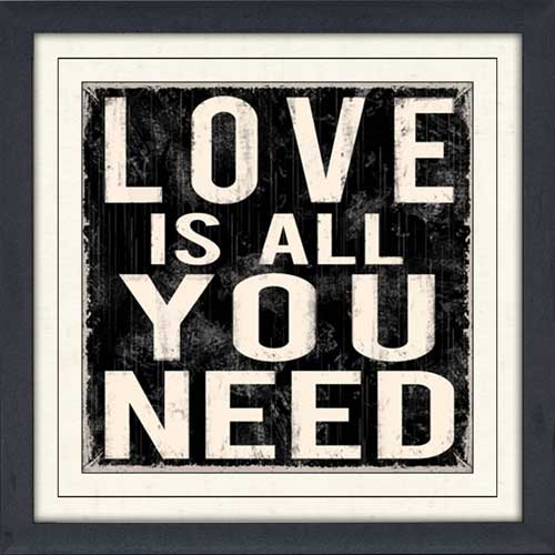 Wall Decor All You Need Is Love : Love is all you need framed canvas art
