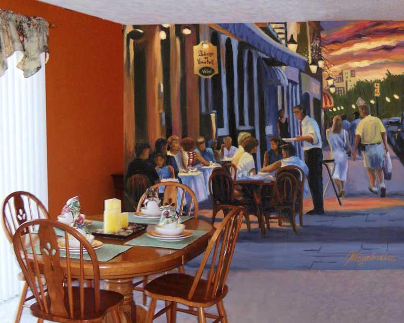 French Cafe Mural Framed Canvas Art
